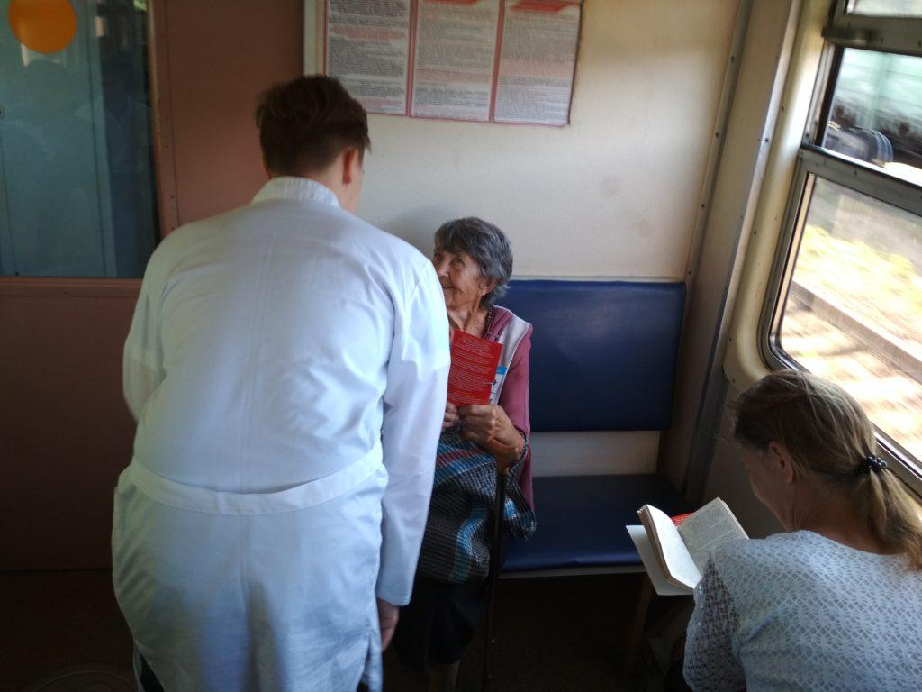 IMG 20180627 074438 1024x768 - В пригородном поезде на Карамыш прошла акция «Вперед к здоровью»